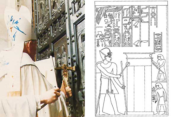 Pope knocking on Holy Door/Amenhotep III striking doorpost with mace