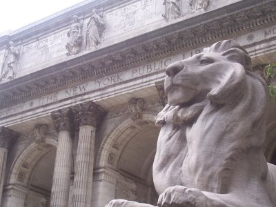 Stone lions that flank the entrance of the New York Public Library