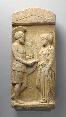 Grave stele of Philoxenos with his wife, Philoumene, about 400 B.C.