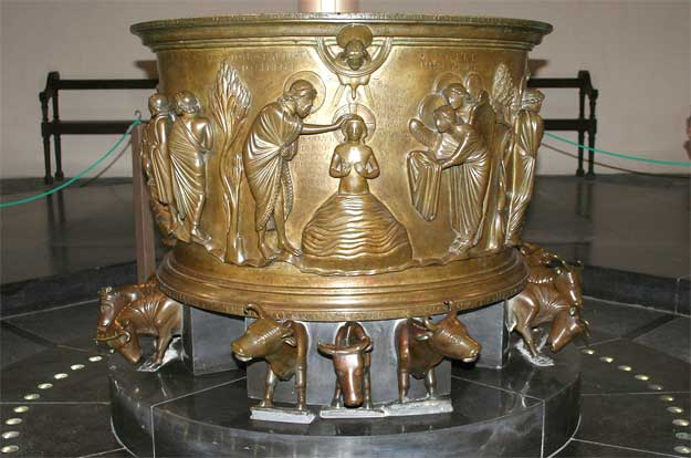 Liège (Belgium), St. Barhélemy (Bartholomew) - Baptismal font of Renier de Huy (first part of the XIIth century).  Author: Jean-Pol Grandmont (Private collection).