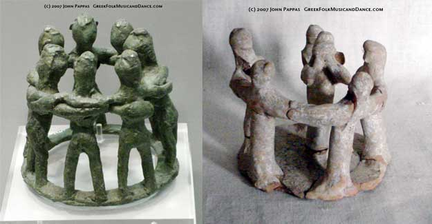 Left - Prearchaic dance circle, 9th c. BC. Olympia. Right - 5th-3rd c. BC circle of dancers, with avlos player inside.
