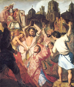 The Stoning of St. Stephen - Rembrandt 1625