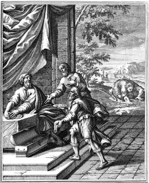 The parable of the talents as depicted in a 1712 woodcut from Historiae celebriores Veteris Testamenti Iconibus representatae.