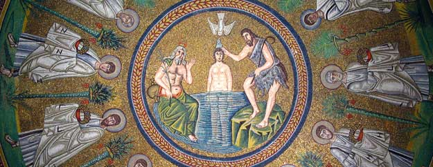 Arian Baptistry in Ravenna, Italy, depicting Christ's baptism, washing, or anointing - <http://en.wikipedia.org/wiki/Arian_Baptistry>. Also note the gammadia marks on the apostles' robes