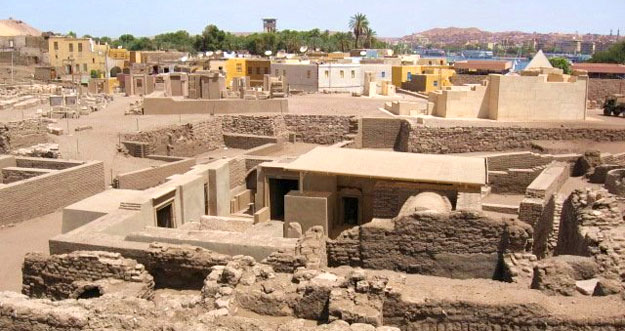 Excavation of Jewish settlement on Elephantine Island, Egypt