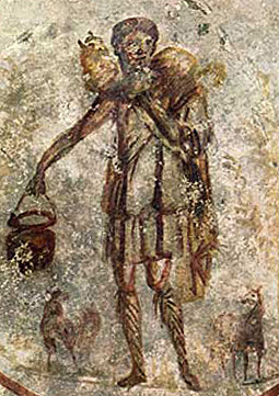 Close on Jesus as the Good Shepherd. Ceiling - S. Callisto catacomb. Mid 3rd century A.D.