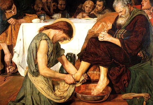 Jesus Washing Peter's Feet by Ford Madox Brown. 1852-56, retouched several times up to 1892. Oil on canvas 46 x 52 1/4 in Tate Gallery, London.