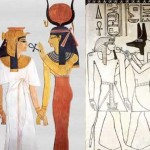 Left: Nefertari receives life from Isis; Right: Amenhotep II receives life from Anubis. (click for larger view)
