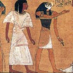 Detail from Papyrus of Ani - a god leads the initiate towards the throne (click for larger view)