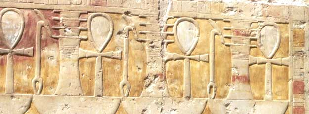 Detail of Hathor shrine at Hatshepsut's temple in Luxor, Egypt
