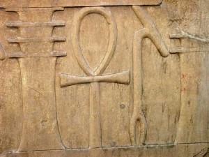 Hieroglyphic relief of djed, ankh, was