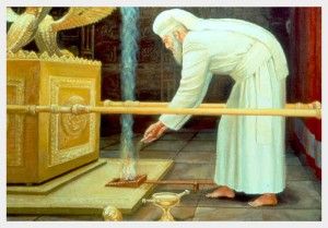 The High Priest in the Holy of Holies - Incense offering on Yom Kippur (Day of Atonement).  Temple Institute.