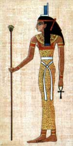 Isis wearing a girdle and holding an ankh