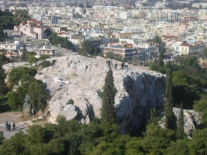 Mars Hill (Areopagus) in Athens, Greece