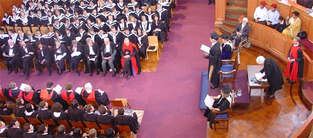A degree ceremony at the Sheldonian Theatre of the University of Oxford, England