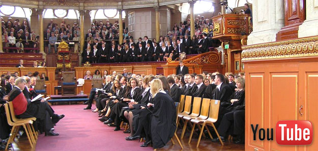 Interior, Sheldonian Theatre, Oxford, prior to degree ceremony