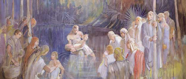 Detail from Alma Baptizes in the Waters of Mormon - Minerva Teichert - 1935 ca.