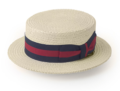 Boater hat (also known as skimmer, katie, basher, or sennit hat)