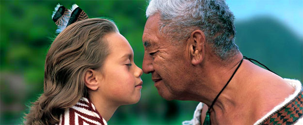 New Zealand Maori exchanging the sacred act of hongi, the breath of life.