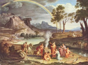 Noah's Thanksoffering (c.1803) by Joseph Anton Koch. Noah builds an altar to the Lord after being delivered from the Flood; God sends the rainbow as a sign of his covenant (Genesis 8-9). (click for larger view)