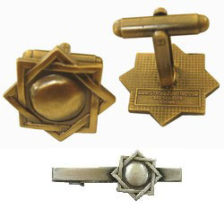 Seal of Melchizedek turned into LDS cufflinks, tie bars/clips, tie tacs
