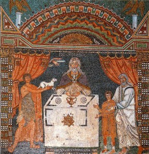 The three sacrifices of the Old Testament. Abel, Melchisedec and Abraham (6th-7th century). Mosaic. Ravenna. Basilica of Sant'Apollinare in Classe, apse, right side.