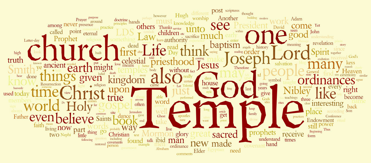 A Wordle created from all the text of TempleStudy.com posts in 2008. Click on the image to see a larger version. Created at http://www.wordle.net/