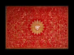Gremial, Portugal (?), século XVIII; gorgorão de seda vermelha bordado a ouro e sedas policromas. Patriarcado de Lisboa.