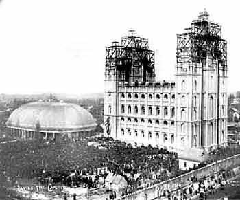 "Between 30,000 and 50,000 people gathered to shout ""Hosanna!"" for the capstone-laying ceremony of the Salt Lake Temple in 1892.  Photo by Charles Ellis Johnson."