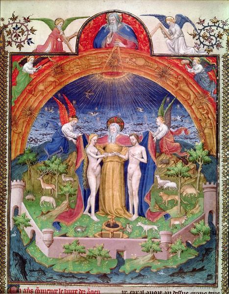 Ms Fr 247 f.3 The Creation, God Introducing Adam and Eve, from 'Antiquites Judaiques', c.1470-76, Jean Fouquet, Bibliotheque Nationale, Paris, France