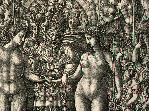 "Detail from engraving ""The Marriage of Adam and Eve"" by Jean Duvet, cerca 1540-1555."