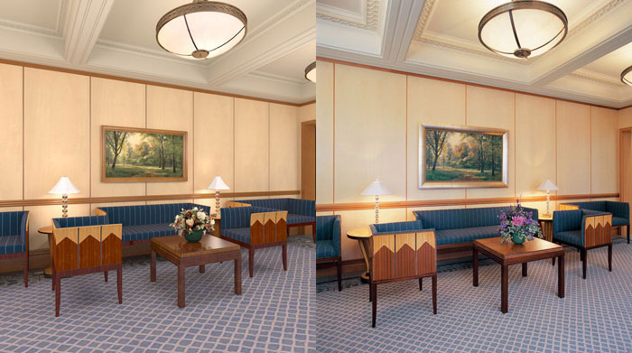 Left: Computer rendering of lobby in the Copenhagen Denmark Temple.  Right: Photo of lobby in the Copenhagen Denmark Temple. (click for a larger view)