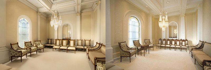 Left: Computer rendering of sealing room in the Newport Beach California Temple.  Right: Photo of sealing room in the Newport Beach California Temple. (click for a larger view)