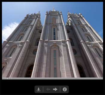 360° panoramas of Temple Square let you look around as if you were there.