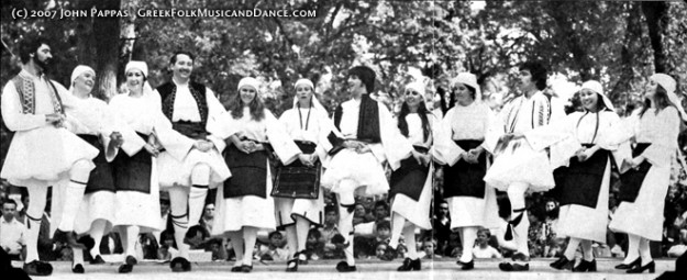 Greek dancing in Foustanelles costume (men) and Florina costume (ladies). 1970s. Used by permission.