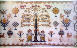 Sampler, England, 1826.  The tree of knowledge is a widely used motif in many embroideries of the 19th century. (Embroidered Textiles, Sheila Paine.)  Click for larger view.