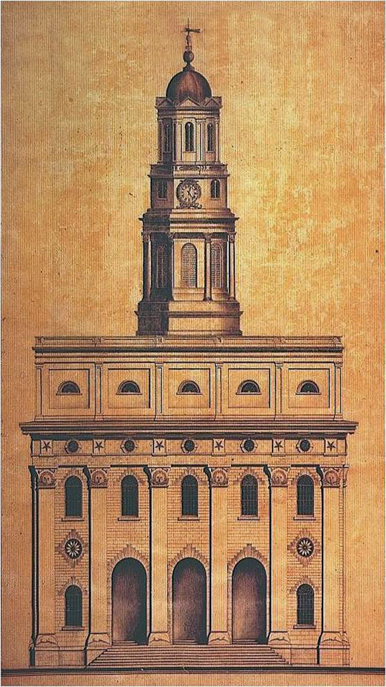 William Weeks drawing of Nauvoo Temple