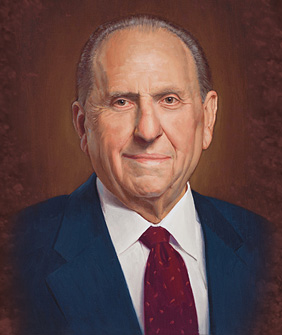 FollowTheProphet.net logo, a portrait by LDS artist Ken Corbett of President Thomas S. Monson.  Used with permission.  KenCorbettArt.com