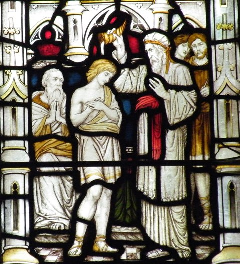 Samuel anointing David. Stained glass.
