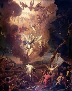 Annunciation to the Shepherds, Abraham Hondius, 1663, oil on panel.  Note the cherubim forming circular ring dances (ancient temple prayer circle) in the heavens, praising God.