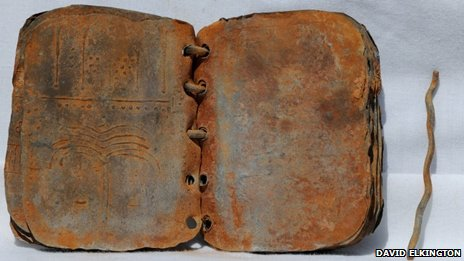 One of the codices in the collection of metal plates discovered in Jordan