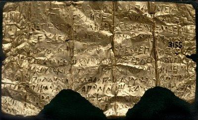 (Tabuľka Petelia, jedna z Orfických Zlatých Dosiek, pochádzajúca z 4. storočia pred našim letopočtom)