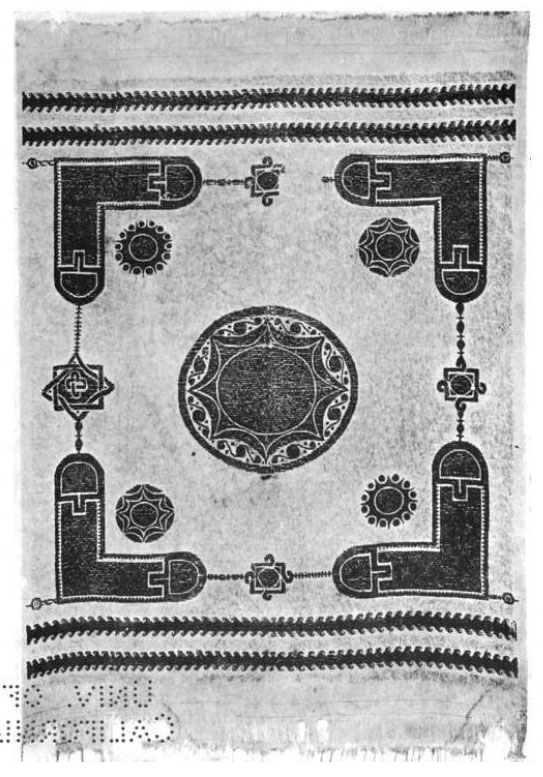 Coptic Egyptian textile, with gammadia in the four corners, and eight-pointed star in the center