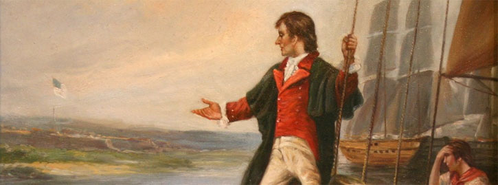 Francis Scott Key looks over Chesapeake Bay at the Star Spangled Banner