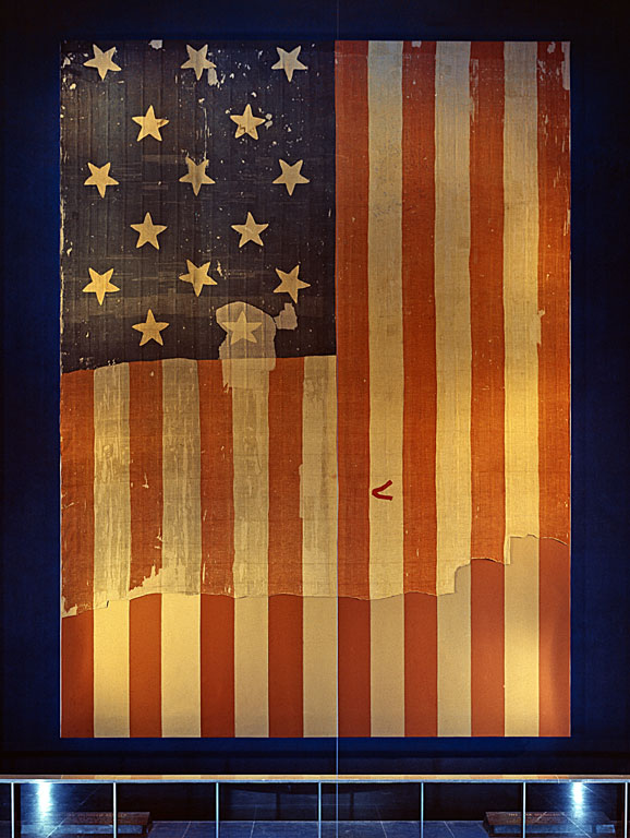 "The 15-star, 15-stripe ""Star Spangled Banner Flag"" which inspired the poem."