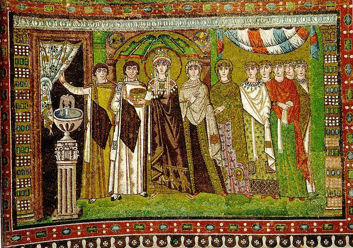 Theodora's Procession with Retinue, San Vitale basilica, Ravenna, Italy
