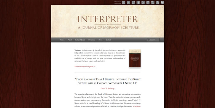 Interpreter: A Journal of Mormon Scripture, website homepage