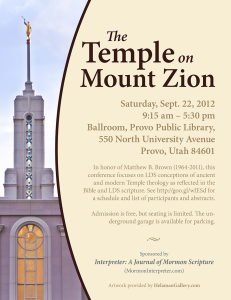 "Flyer for ""The Temple on Mount Zion"" Conference"