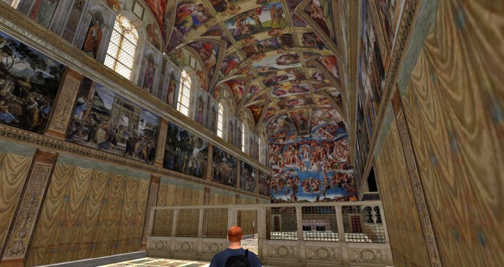 Steven Taylor's recreation of the Sistine Chapel in the virtual reality game Second Life. (Click to enlarge)