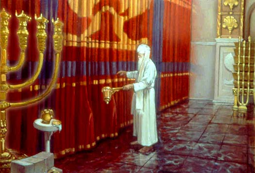 The High Priest stands before the veil of the Israelite Temple.